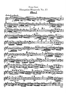 No.13 in A Minor, S.244: For orchestra – oboes I-II parts by Franz Liszt