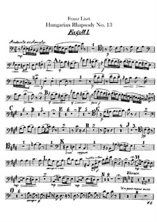 No.13 in A Minor, S.244: For orchestra – bassoons I-II parts by Franz Liszt