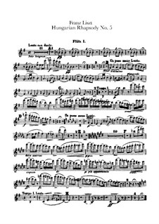 No.5 in E Minor, for Orchestra, S.621/5: Flautas I-II, partes by Franz Liszt
