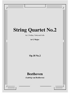 Quartet No.2 in G Major: partituras completas, partes by Ludwig van Beethoven