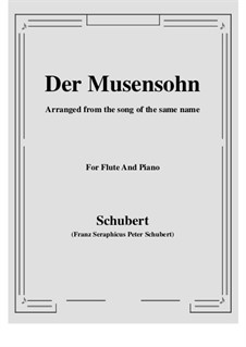 Der Musensohn (The Son of the Muses), D.764 Op.92 No.1: para flauta e piano by Franz Schubert