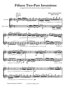 Complete set, BWV 772-786: For Alto Flute and Bass Clarinet by Johann Sebastian Bach