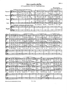 Ave maris stella, S.34: For mixed choir and organ by Franz Liszt