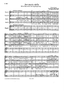 Ave maris stella, S.34: For male choir and organ by Franz Liszt