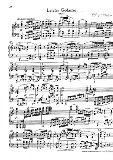 Letzter musikalischer Gedanke (Last Musical Thought), WoO 62: Para Piano by Ludwig van Beethoven