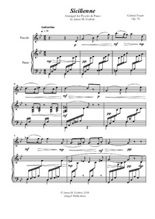 Sicilienne for Cello and Piano, Op.78: Version for Piccolo & Piano by Gabriel Fauré