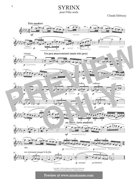 Syrinx: Arrangement for flute by Claude Debussy