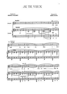 Je te veux: Para vocais e piano by Erik Satie