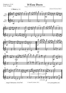 14 Easy Duets: For Bass Flutes by Johann Sebastian Bach