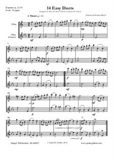 14 Easy Duets: For Oboe & Oboe d'Amore by Johann Sebastian Bach