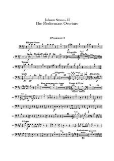 Die Fledermaus (The Bat): Abertura - parte trombones by Johann Strauss (Sohn)