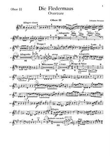 Die Fledermaus (The Bat): Overture – oboe II part by Johann Strauss (Sohn)