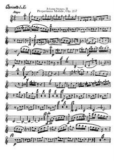 Perpetuum Mobile, Op.257: parte clarinetas by Johann Strauss (Sohn)