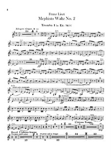 Waltz No.2 in E Flat Major for Orchestra, S.111: trompeta partes I-II by Franz Liszt