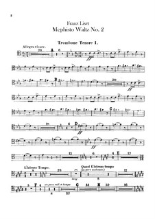 Waltz No.2 in E Flat Major for Orchestra, S.111: parte de trombones e tubas by Franz Liszt