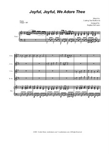 Ode to Joy (arr. S. DeCesare): For Saxophone Quartet and Piano by Ludwig van Beethoven