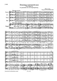 Pro Papa, S.39: No.2 Dominus conservet eum by Franz Liszt