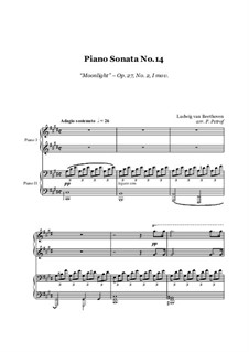 Movement I: For piano four hands – score and parts by Ludwig van Beethoven