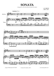 Sonata for Flute and Harpsichord No.1 in B Minor, BWV 1030: For Alto Sax and Piano by Johann Sebastian Bach