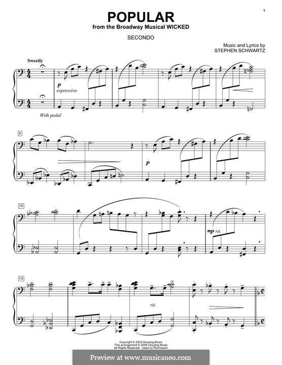 Popular (from Wicked): para piano de quadro mãos by Stephen Schwartz