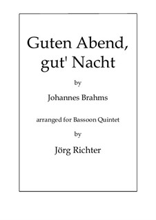 No.4 Cradle Song: For Bassoon Quintet by Johannes Brahms