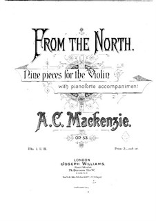 From the North. Nine Pieces for Violin and Piano, Op.53: partitura by Alexander Mackenzie