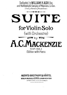 Suite for Violin and Piano, Op.68: partitura by Alexander Mackenzie