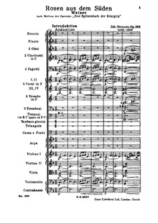 Roses from the South, Op.388: partitura completa by Johann Strauss (Sohn)