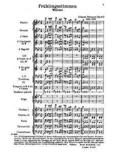 Voices of Spring, Op.410: Partitura completa by Johann Strauss (Sohn)