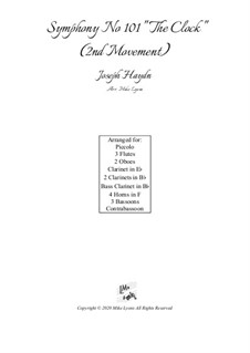Symphony No.101 in D Major 'The Clock', Hob.I/101: Movement II, for wind choir by Joseph Haydn