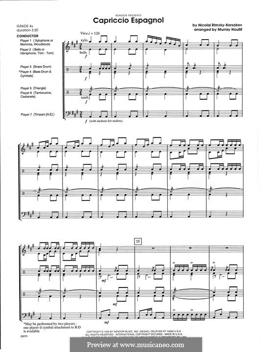 Capriccio Espagnol, Op.34: For percussion – full score by Nikolai Rimsky-Korsakov