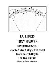 Sonata for Piano No.10 in C Major, Hob.XVI/1: For two guitars – parts by Joseph Haydn