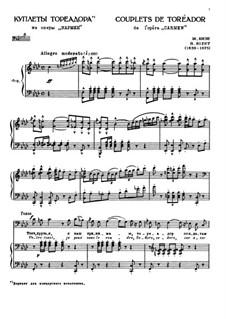 Toreador's Song: Para vocais e piano by Georges Bizet