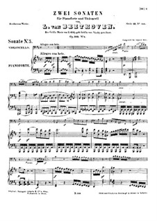 Sonata for Cello and Piano No.5 in D Major, Op.102 No.2: partitura by Ludwig van Beethoven