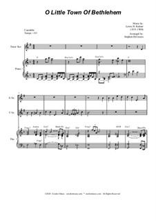 O Little Town of Bethlehem: For Saxophone Quartet and Piano by Lewis Henry Redner