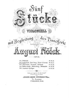 Five Pieces, Op.15: No.2 Love Song – Score by August Nölck