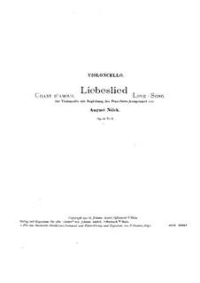 Five Pieces, Op.15: No.2 Love Song – Part by August Nölck