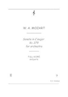 Sonata for Piano No.1 in C Major, K.279: Orchestra transcription by Wolfgang Amadeus Mozart