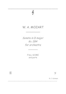 Sonata for Piano No.6 in D Major, K.284: Orchestra transcription by Wolfgang Amadeus Mozart