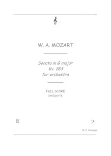 Sonata for Piano No.5 in G Major, K.283: Orchestra transcription by Wolfgang Amadeus Mozart