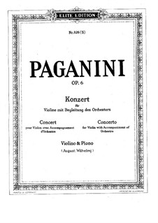 Concerto for Violin and Orchestra No.1 in D Major, Op.6: Movement I, for violin and piano by Niccolò Paganini