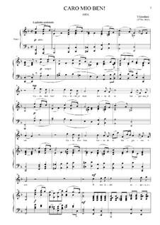 Caro mio ben (O Maiden Dear): For voice and piano (& minus) by Tommaso Giordani