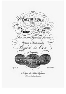 Variations on a Tyrolean Song, Op.13: Para Piano by Henri Herz