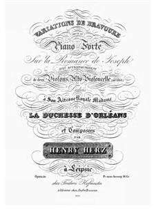 Variations de Bravoure sur la Romance de Joseph, Op.20: Para Piano by Henri Herz