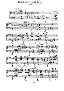 Ballade No.3 in A Flat Major, Op.47: Para Piano by Frédéric Chopin