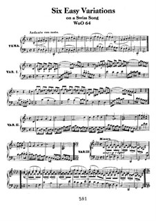 Six Easy Variations on Swiss Song for Piano, WoO 64: para um único musico (Editado por H. Bulow) by Ludwig van Beethoven