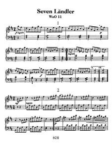 Seven Ländler, WoO 11: Para Piano by Ludwig van Beethoven
