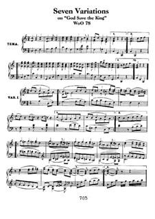 Seven Variations on English Song 'God Save the King', WoO 78: Para Piano by Ludwig van Beethoven