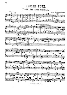 Grand Fugue in B Flat Major for String Quartet, Op.133: versão para piano by Ludwig van Beethoven