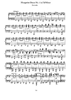 Dance No.5 in F Sharp Minor: primeira parte, segunda parte by Johannes Brahms